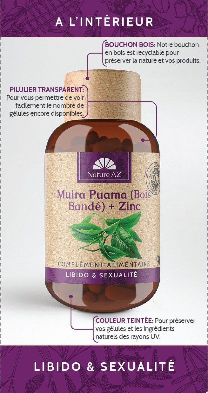 Muira Puama bois bandé pilulier